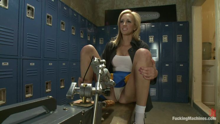 Locker Room Lock Down: Machine Fucking Her Brains Out