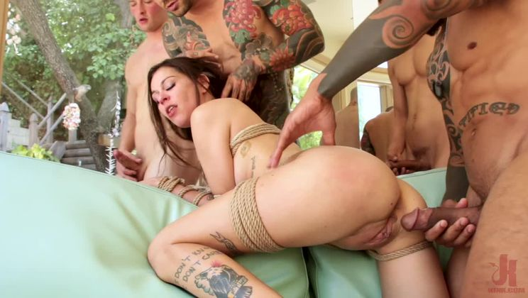 Anal Slut Kacie Castle Gang Fucked & Bound by Voracious Neighbors